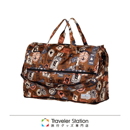 《Traveler Station》HAPI+TAS-Mickey & Minnie摺疊隨身袋-MK10復古棕