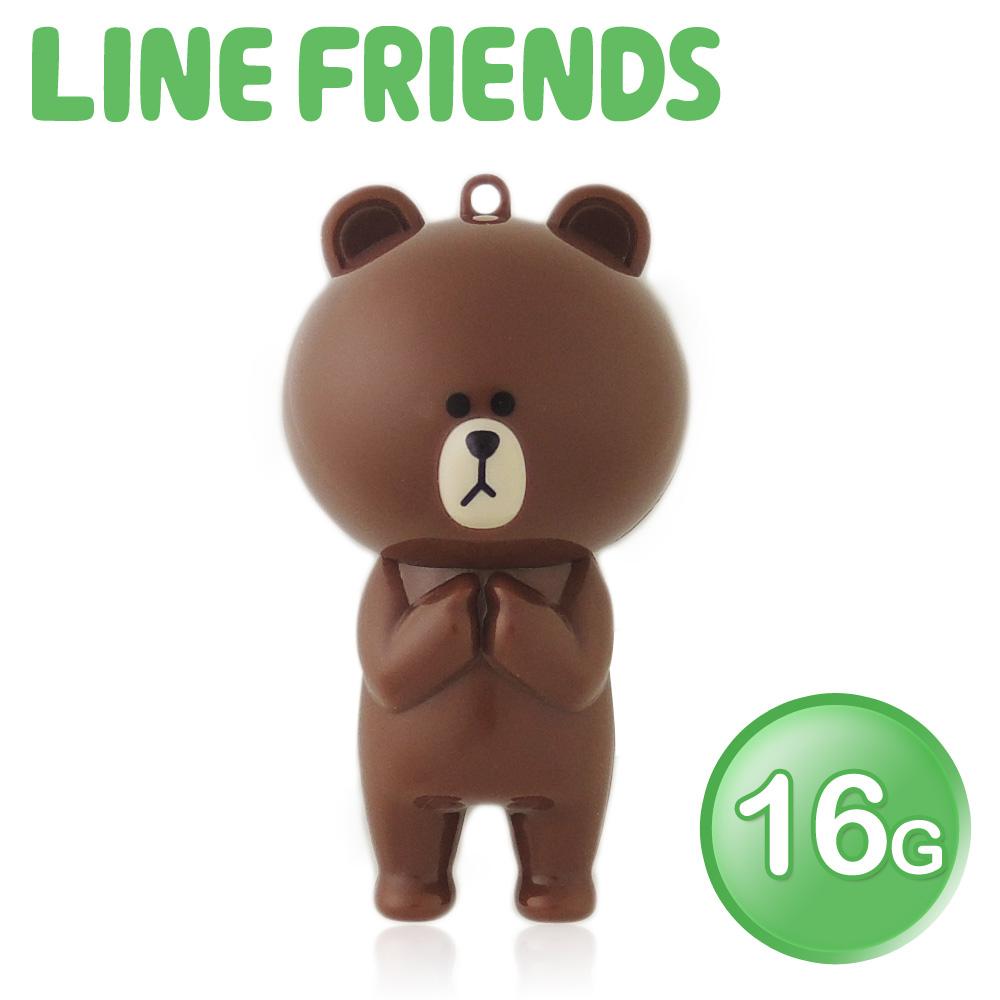 【加送愛心杯墊】LINE FRIENDS 16GB 立體造型隨身碟-熊大 (WH-LN223B)