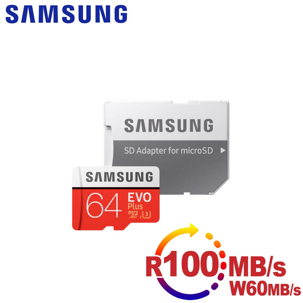 Samsung三星 microSDXC 64GB R100/W60MB UHS-I U3 EVO+高速記憶卡-送OTG傳輸線KT-OR01粉