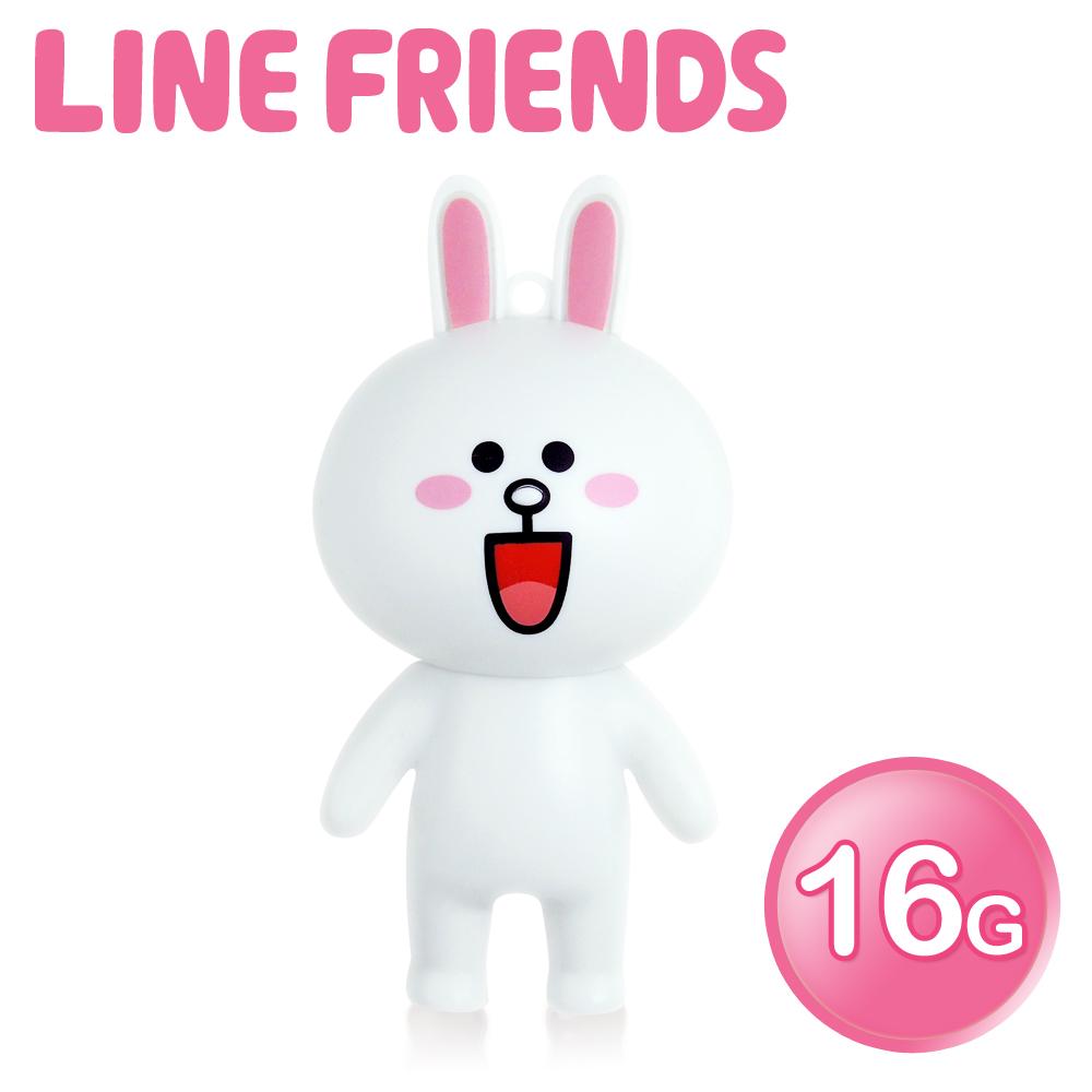 【加送愛心杯墊】LINE FRIENDS 16GB 立體造型隨身碟-兔兔 (WH-LN223C)