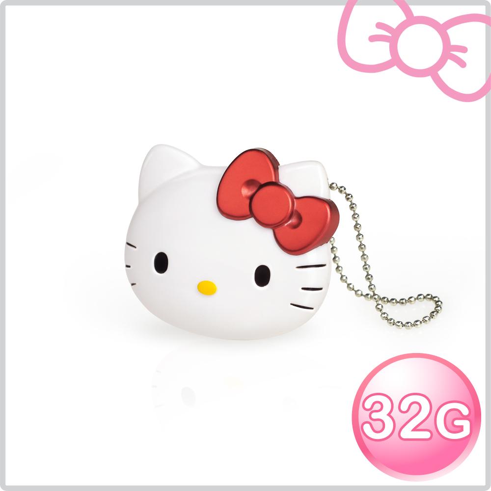 【加送愛心杯墊】Hello Kitty AH101 32GB 經典立體造型隨身碟-璀璨紅