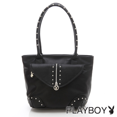 PLAYBOY-O- LEATHER COLLECTION 系列肩背包-黑色