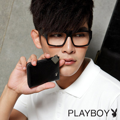 PLAYBOY-L-Rutty 系列鑰匙零錢包-黑色