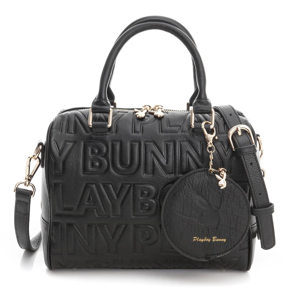 PLAYBOY- 2WAY波士顿包 Fashion Brand 时尚烙印系列-时尚黑