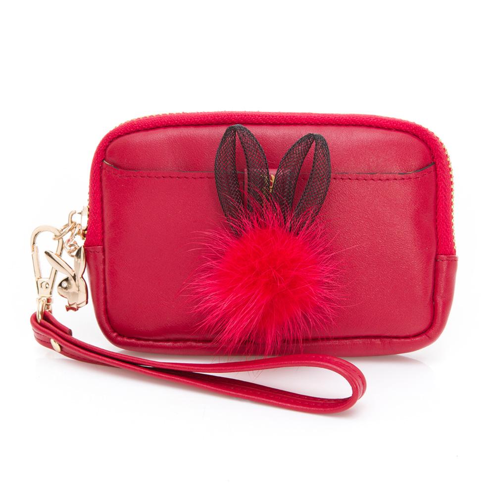 PLAYBOY- 零钱包 跳跃毛毛兔系列-复古俏皮红