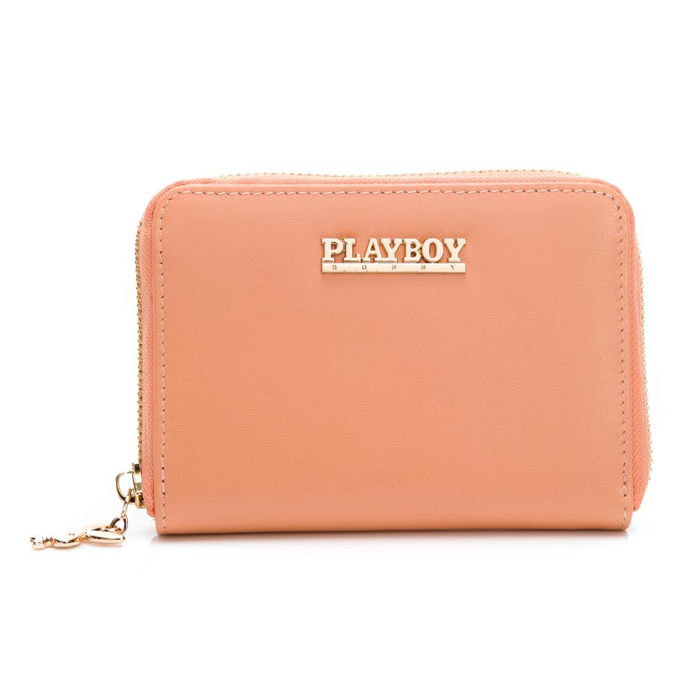 PLAYBOY- 零钱夹 经典粉桔羊皮系列-粉桔色