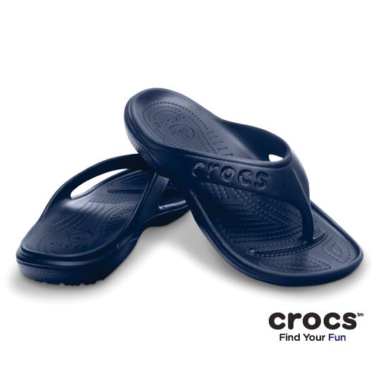 【Crocs】中性-男女-貝雅人字拖 (深藍)