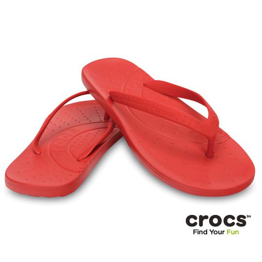 【Crocs】中性-男女-彩威夷人字拖 (紅色)