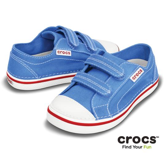 【Crocs】童- 小童皓翔帆布鞋2代 (學院藍/白色)