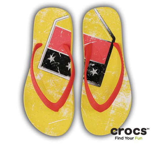 【Crocs】中性-男女-彩威夷人字拖德國版(黃/紅色)