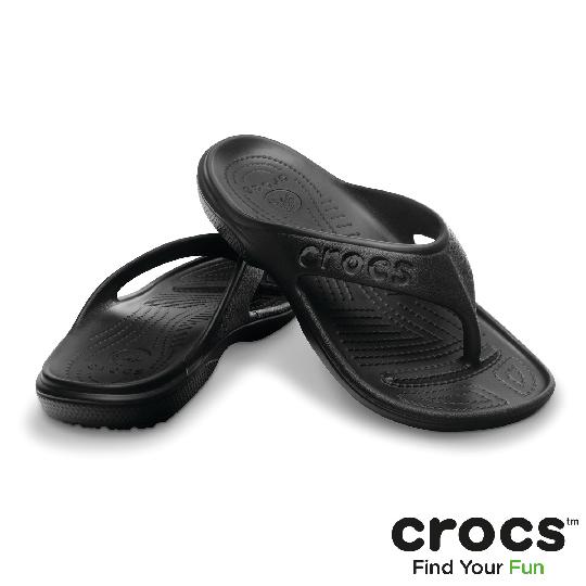 【Crocs】中性-男女- 貝雅人字拖 (黑色)
