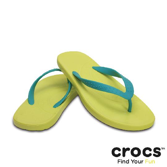 【Crocs】中性 - 彩威夷人字拖 - 藍綠/蕁麻黃色