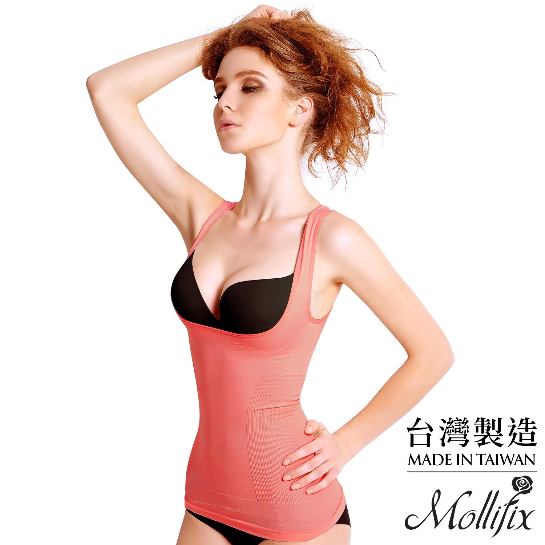 【Mollifix】沁涼體感完美腰線輕塑衣 M/L(甜桃粉)