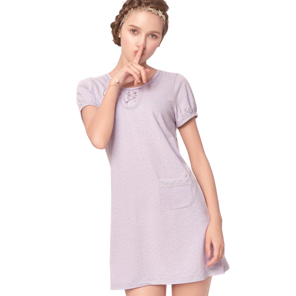 【思薇尔】几分甜轻甜风系列M-L素面连身式居家洋装(蒙灰色)