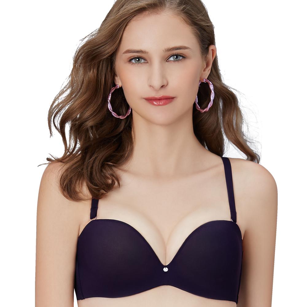 【思薇爾】嗨Q Bra系列B-E罩1/2罩素面無痕模杯包覆內衣(紫鐵黑)