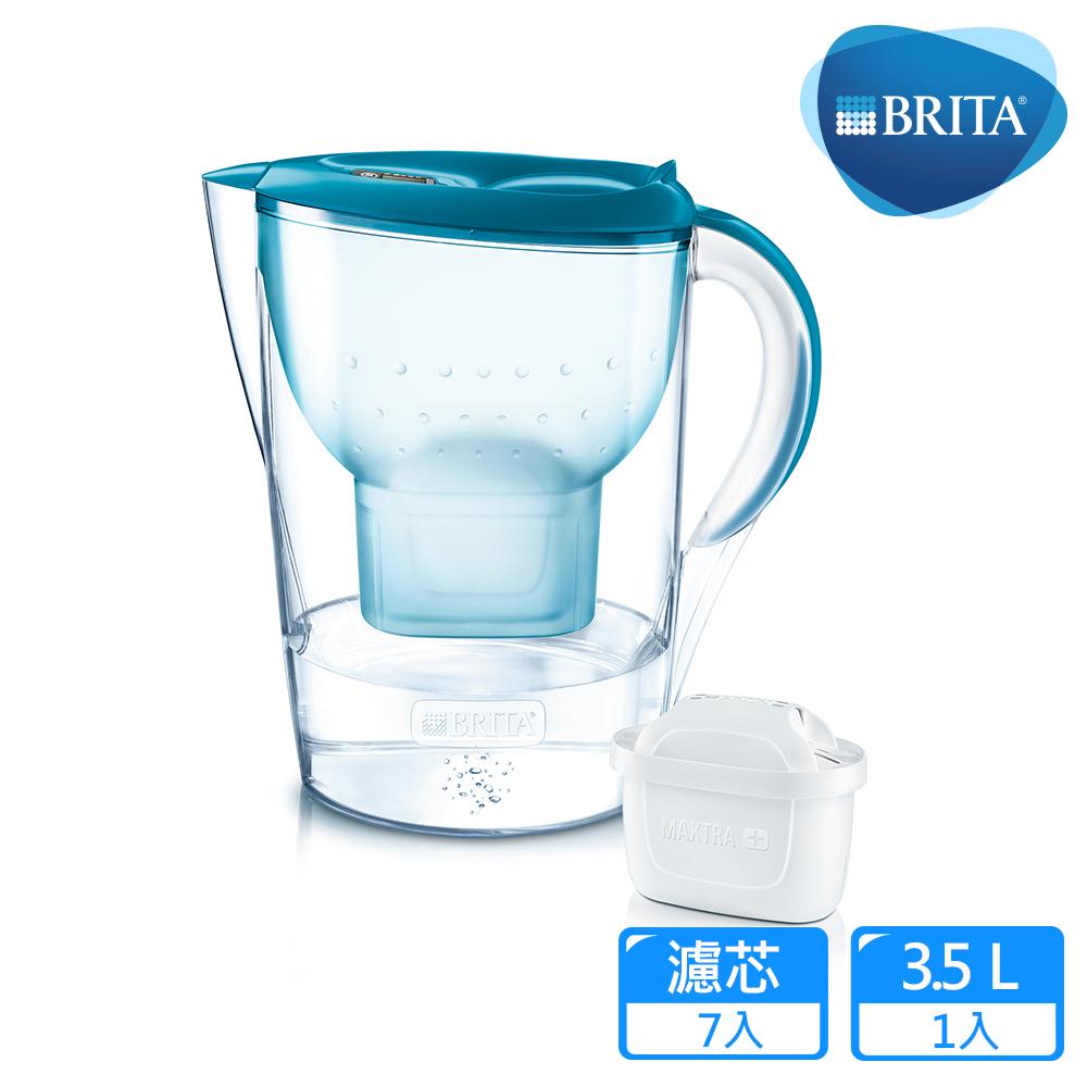 德國BRITA  3.5公升Marella馬利拉花漾壺+6入MAXTRA Plus濾芯_純淨藍(共7芯)