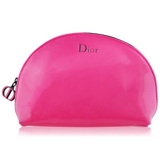 Dior 迪奧 桃紅漆皮半圓化妝包(15x4x11.5cm)