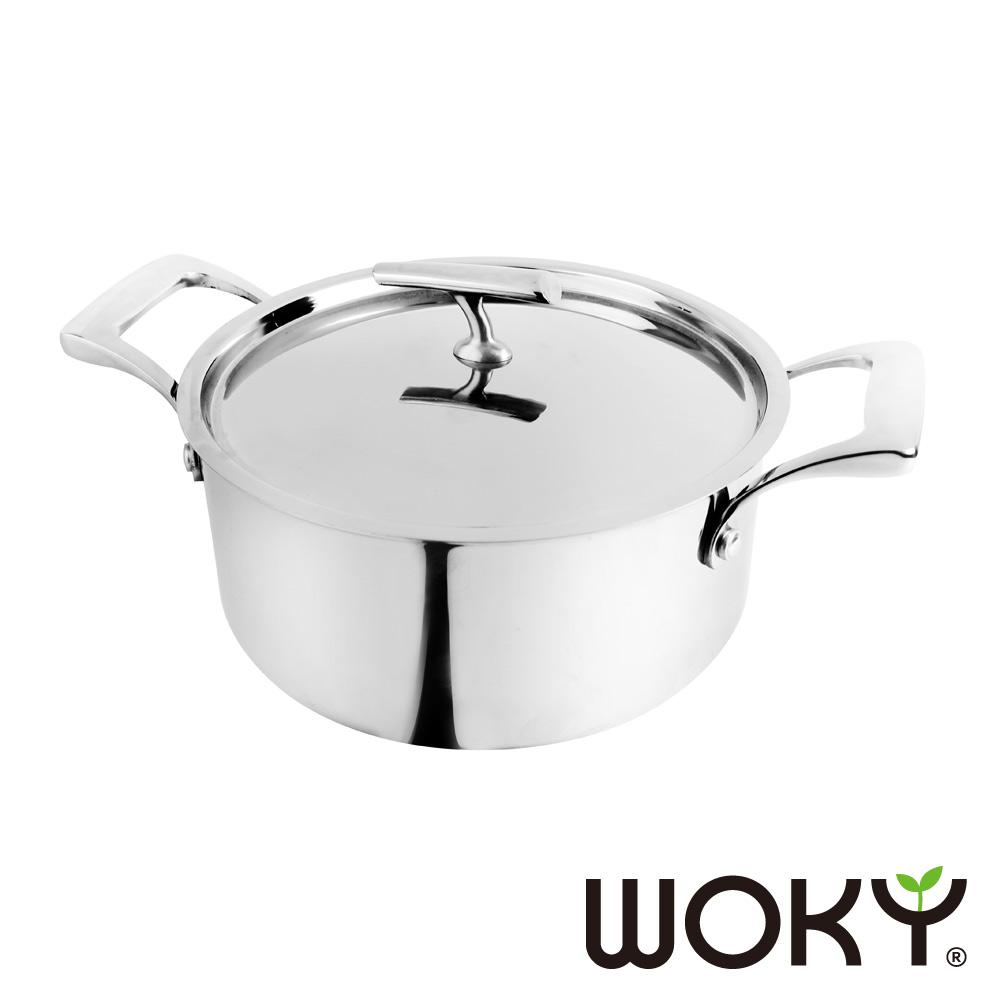 【WOKY沃廚】頂級白金主廚系列不鏽鋼雙耳湯鍋24CM