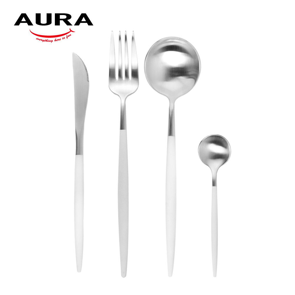 【AURA艾樂】Fantasy鈦奢華不鏽鋼餐具四件組(原+白柄)