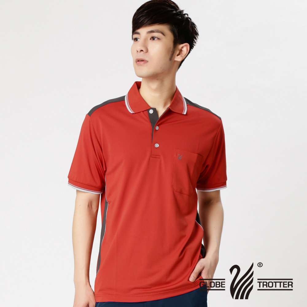 MIT男款休闲抗UV吸湿排汗机能POLO衫SV055桔红
