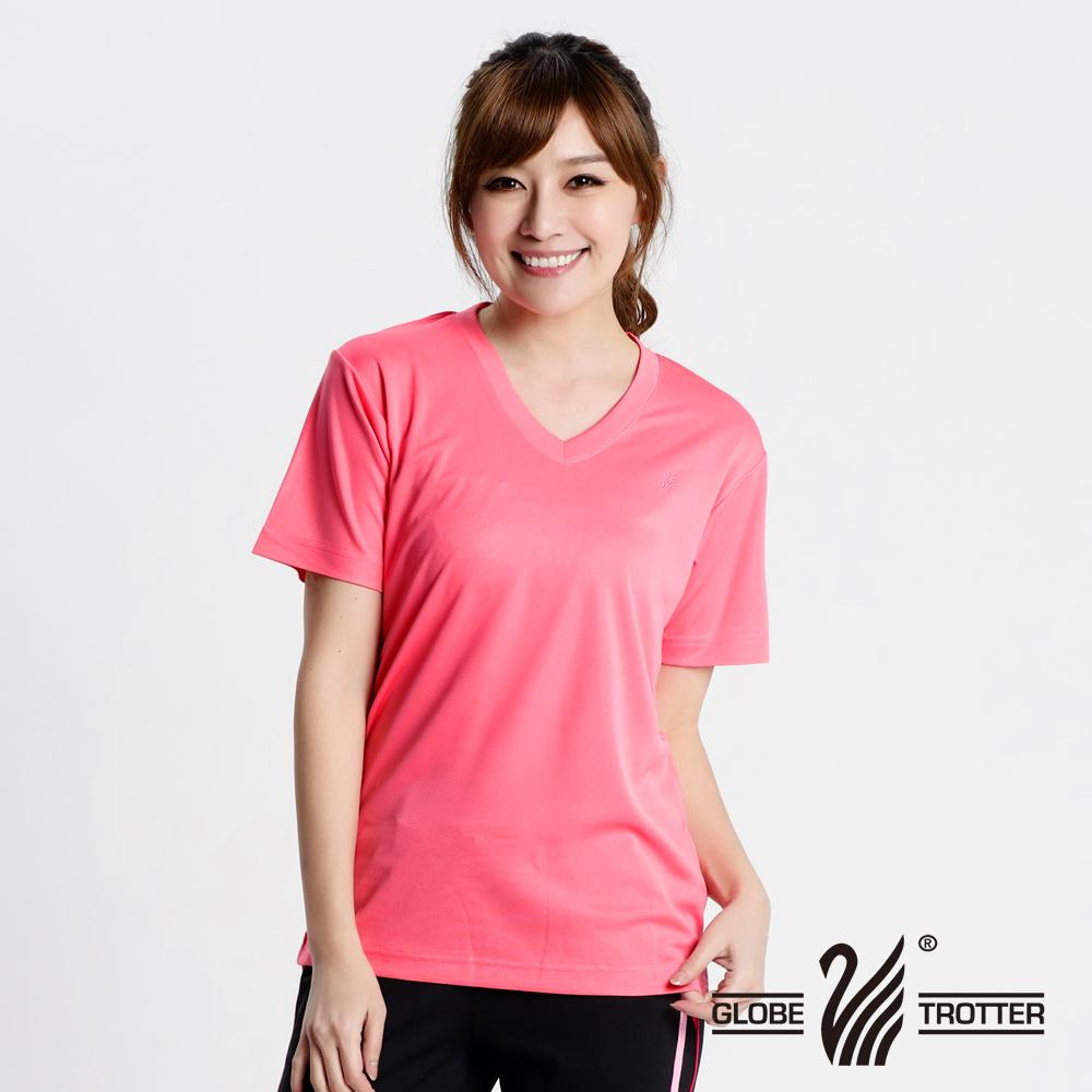 MIT中性款抗UV凉爽吸湿排汗V领机能衫S106粉红