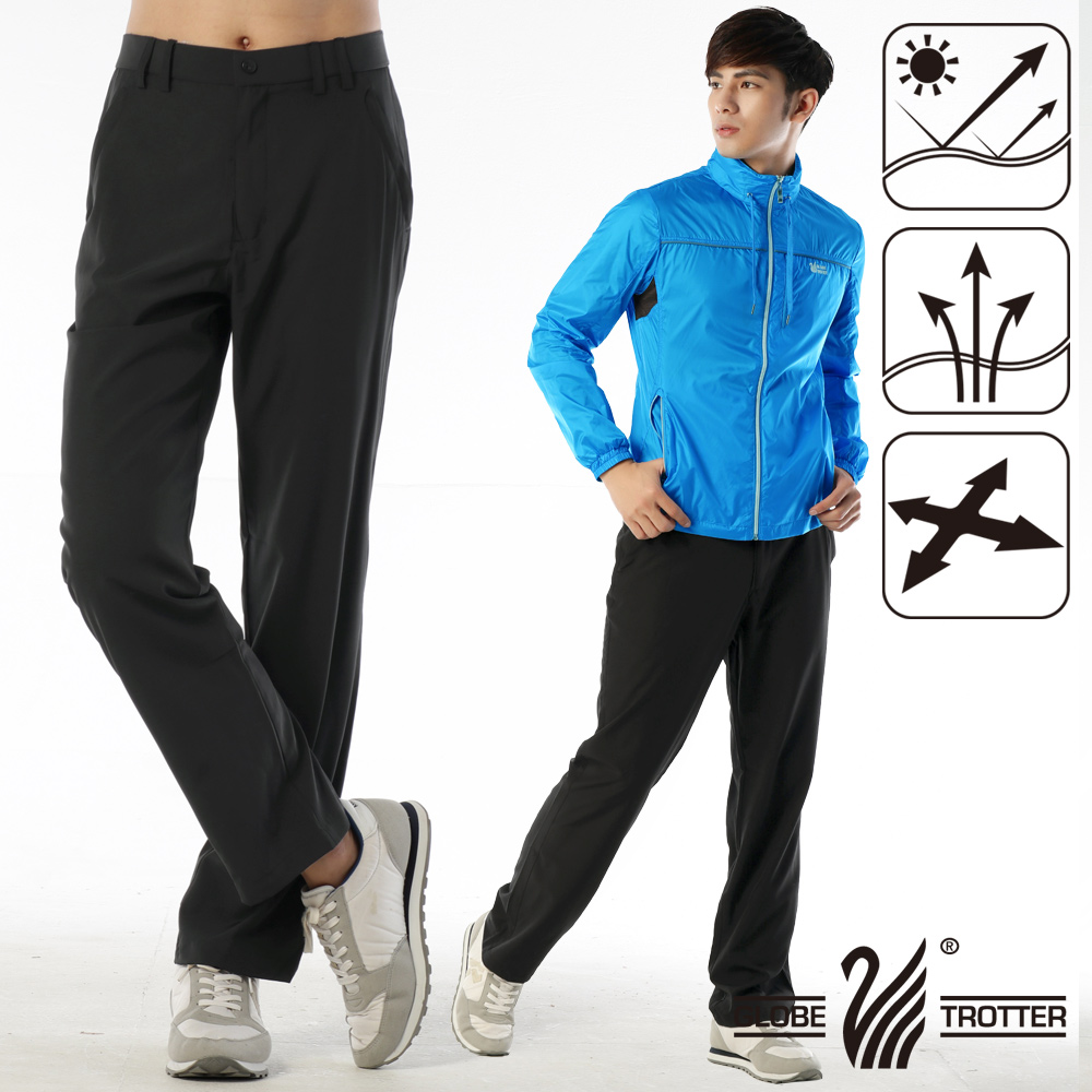 男款凉爽超显瘦弹性吸湿排汗抗UV长裤P130深咖