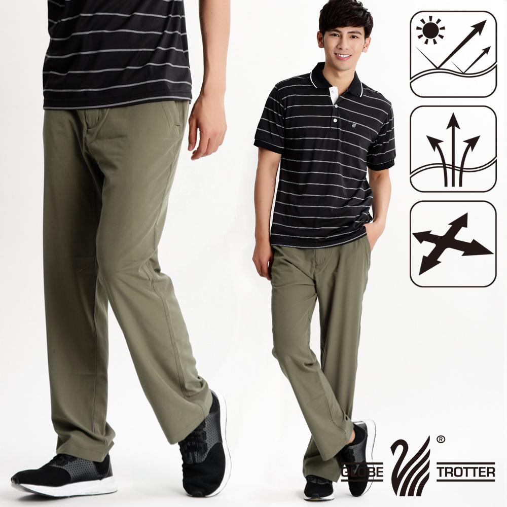 男款凉爽超显瘦弹性吸湿排汗抗UV长裤P130卡其