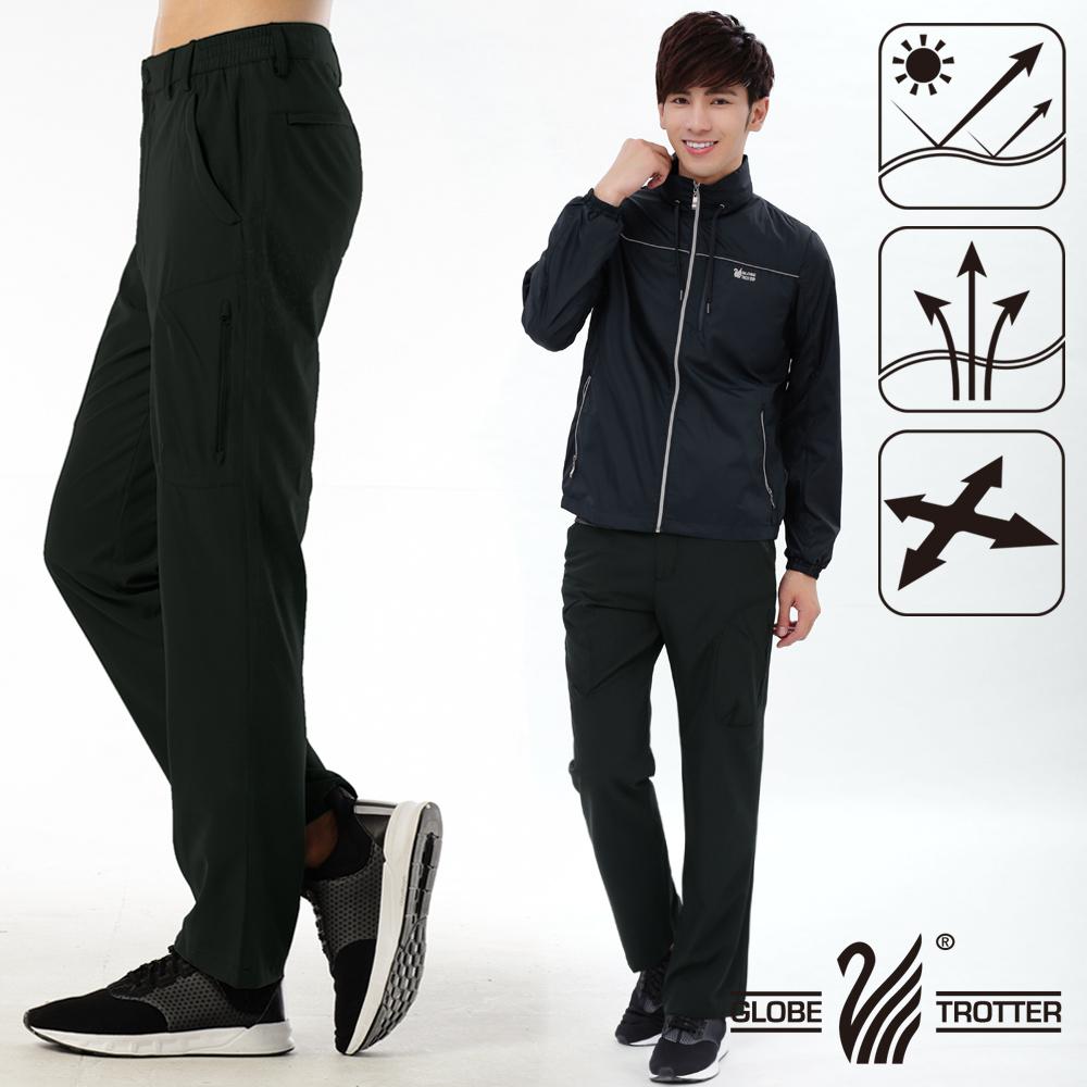 男款凉爽超显瘦弹性吸湿排汗抗UV长裤P132黑色