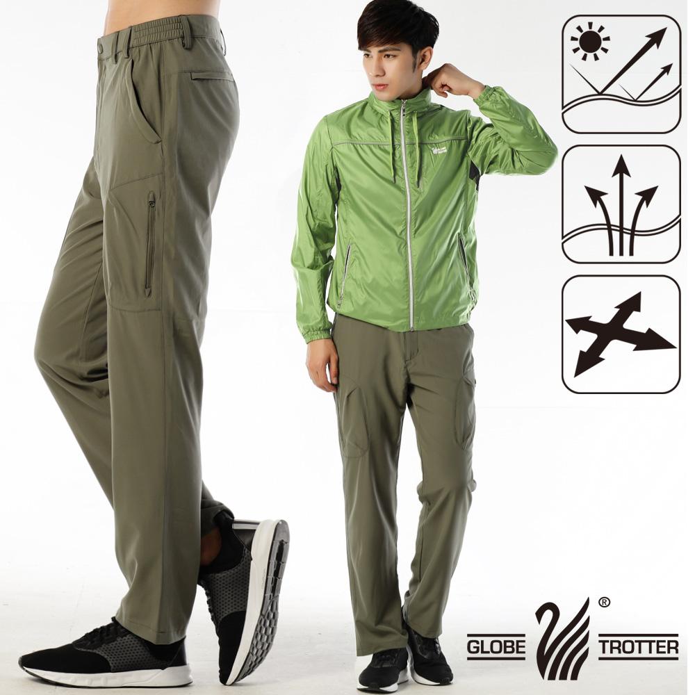 男款凉爽超显瘦弹性吸湿排汗抗UV长裤P132卡其