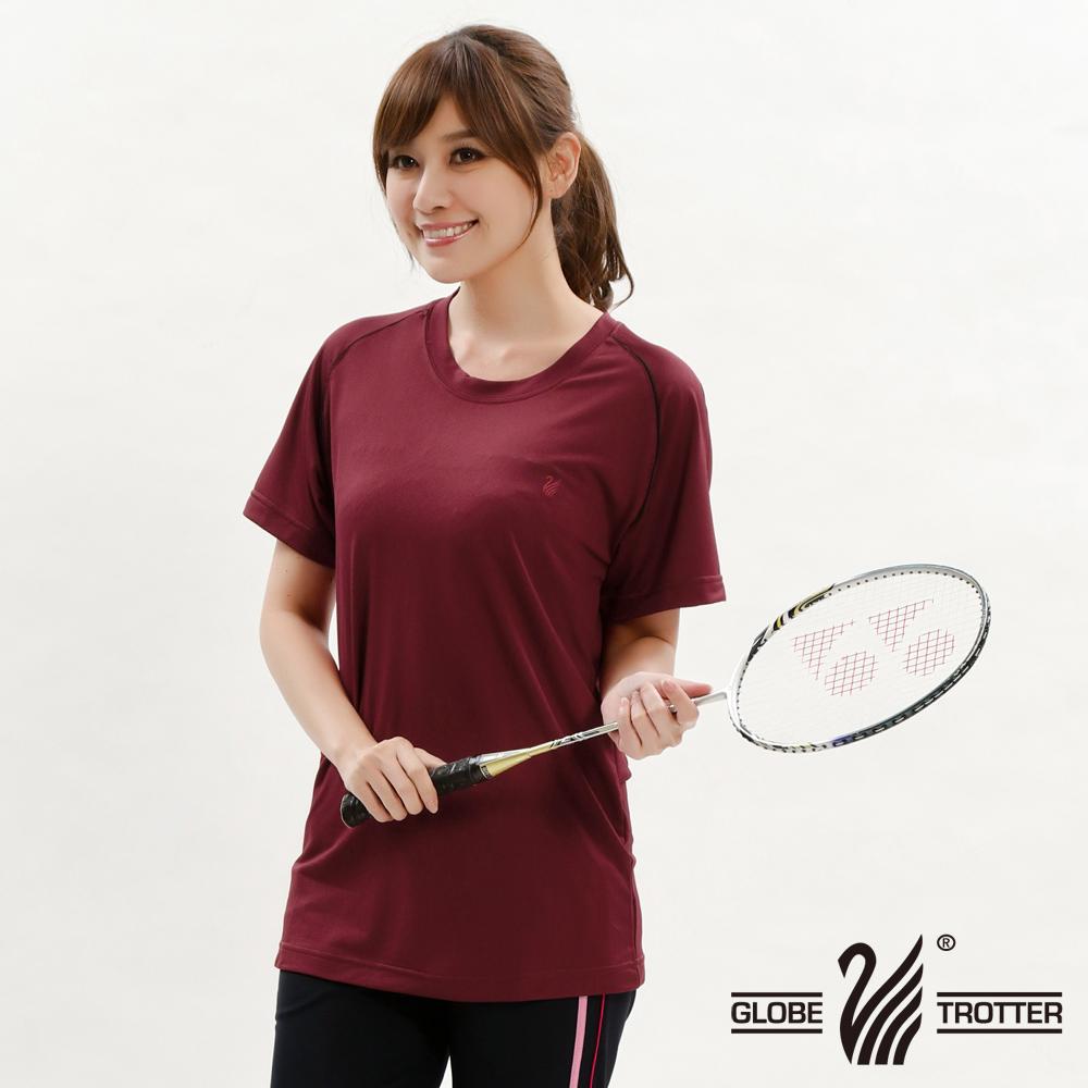 台湾制中性款凉感圆领吸湿排汗机能衫S0707砖红