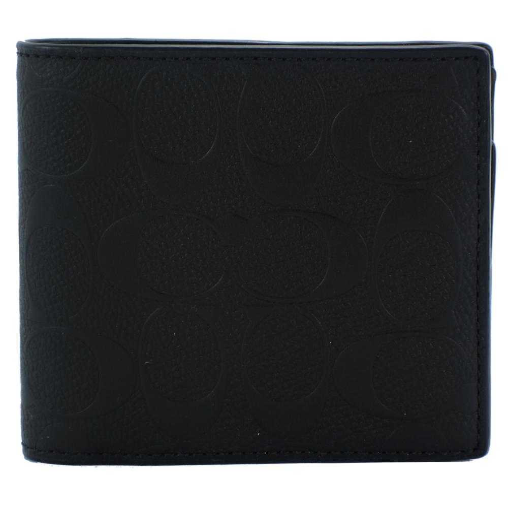 【男仕时尚】COACH C LOGO压纹皮革八卡男用短夹(附证件夹)(黑)