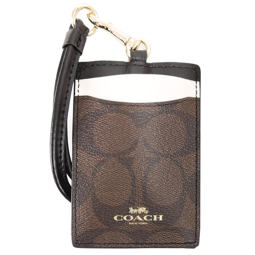 【时尚必备】COACH 烫金 Logo撞色证件票卡夹(深咖x米灰)
