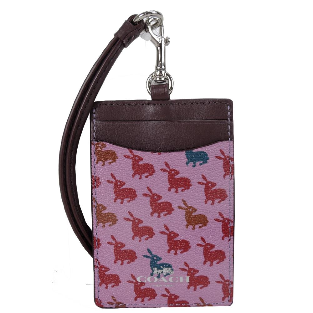 COACH 满月兔兔防刮颈挂式证件票卡夹(粉红)