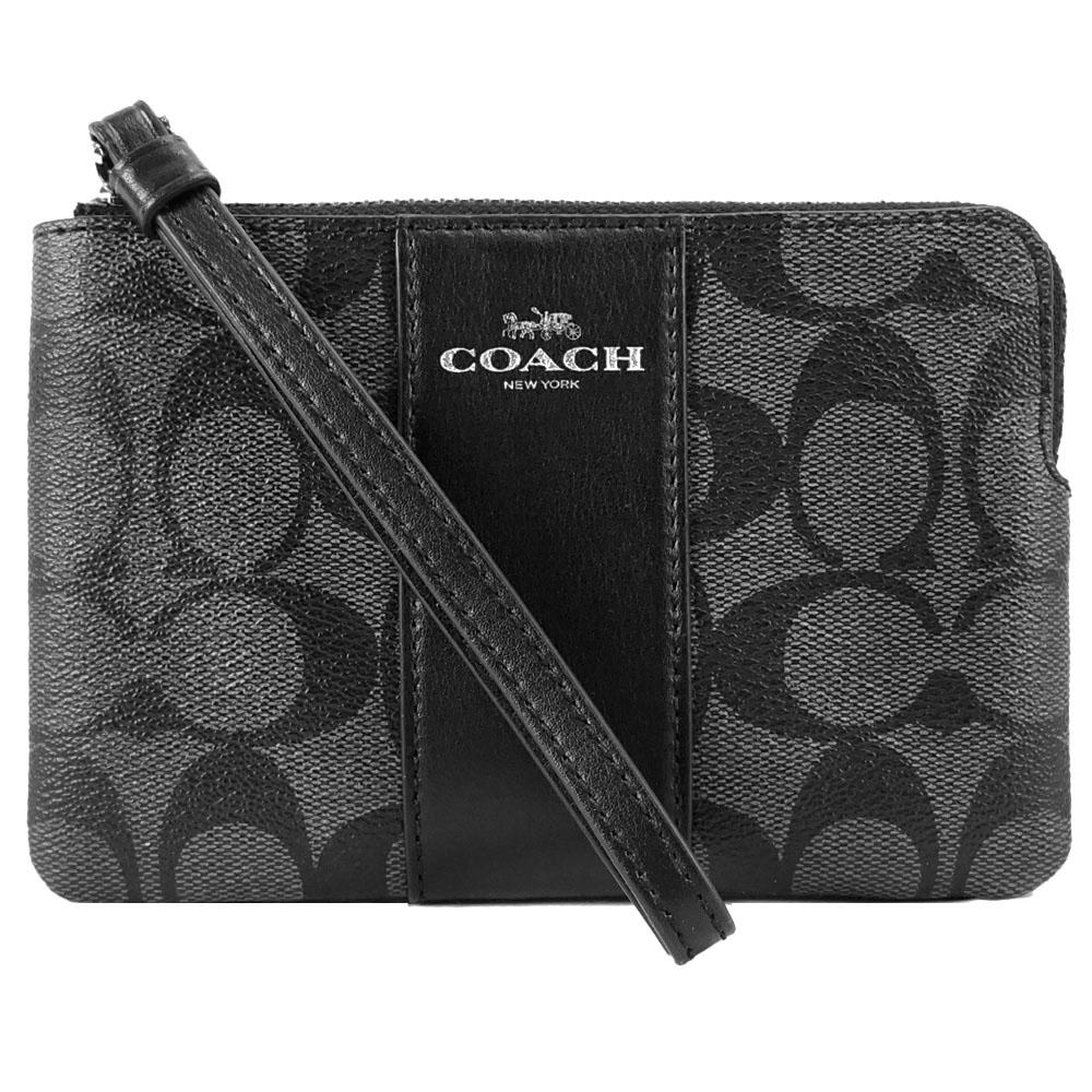 【经典手拿包】COACH 新款烫印马车 PVC 直纹拉鍊手拿包(黑灰)