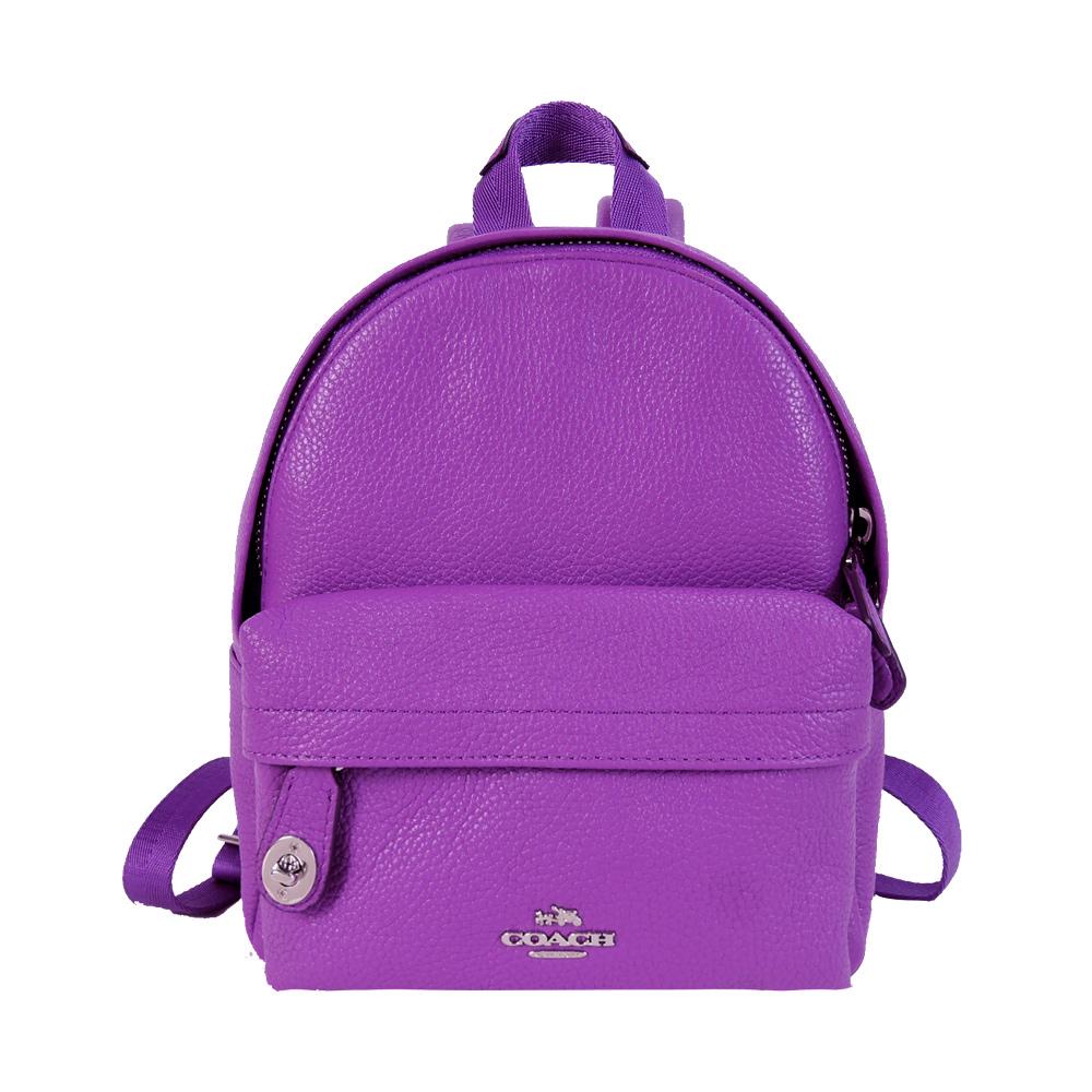 【宠爱女人节】COACH 专柜款马车小转釦荔枝皮革后背包(迷你/紫)
