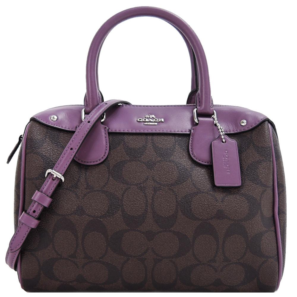 【宠爱女人节】COACH 防刮缇花拼接手提/斜背波士顿包(咖啡紫)