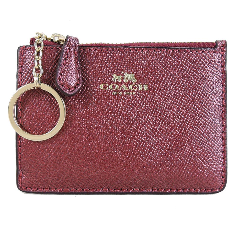COACH 马车珠光防刮皮革后卡夹钥匙零钱包(珠光红)