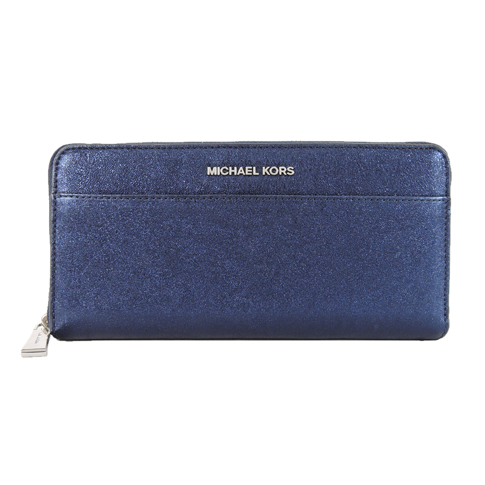 MICHAEL KORS MONEY PIECES闪耀拉鍊长夹(深蓝)