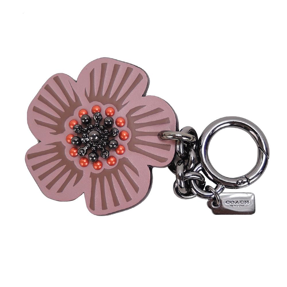 【新品下杀】COACH 专柜款茶香玫瑰造型吊饰/钥匙圈(玫瑰粉)