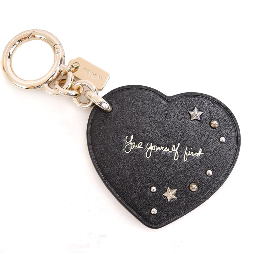 【新品下杀】COACH 专柜款铆钉爱心造型钥匙圈(黑)