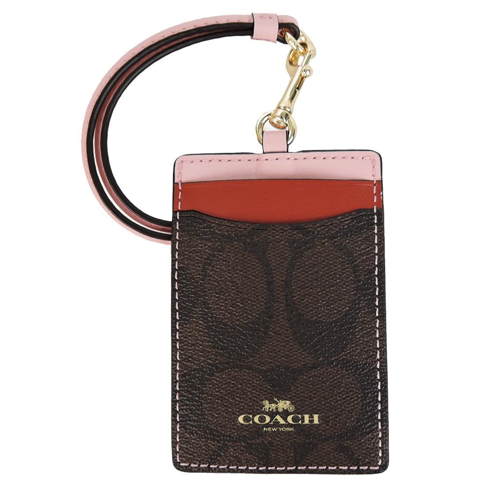 COACH 烫金 Logo撞色证件票卡夹(粉X红)