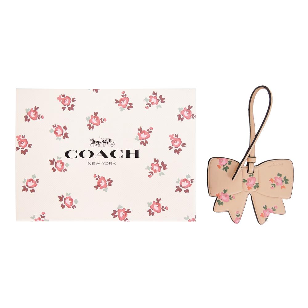 COACH 碎花蝴蝶结皮革吊饰/钥匙圈礼盒(肤粉)