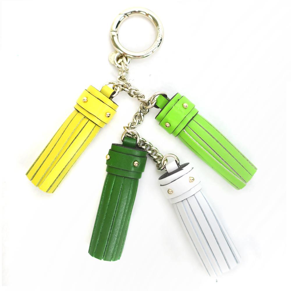 MICHAEL KORS 牛皮流苏吊饰钥匙圈(绿色系)