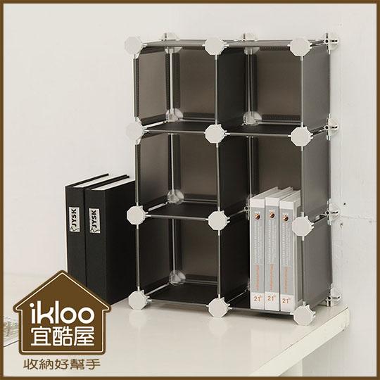 【ikloo】迷你桌上6格組合櫃 (4色可選)