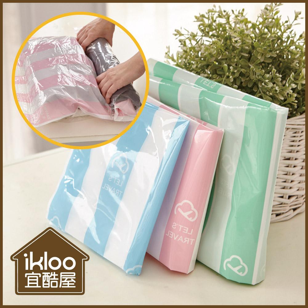 【ikloo】手捲式真空壓縮收納袋12入組(S/M/L)