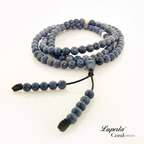 大東山珠寶 6mm藍珊瑚108顆念珠 珍貴深海藍珊瑚