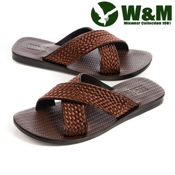 w&m 质感交叉中国结拖鞋男鞋-咖 -payeasy线上购物