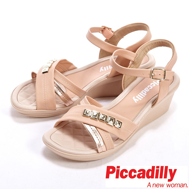 Piccadilly 金屬方塊裝飾交叉繫帶楔型中跟涼鞋-杏