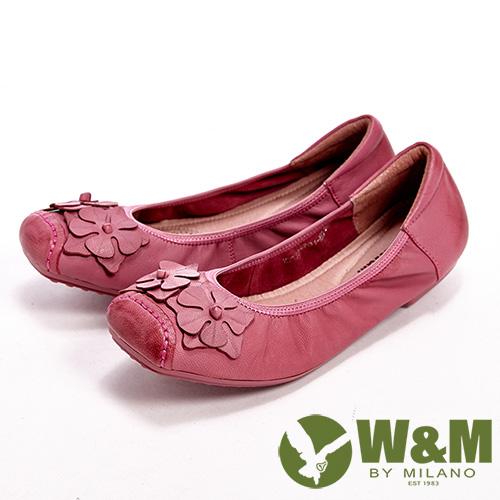 ~W  M~花片片氣質芭蕾娃娃平底休閒女鞋~桃  藍 橘