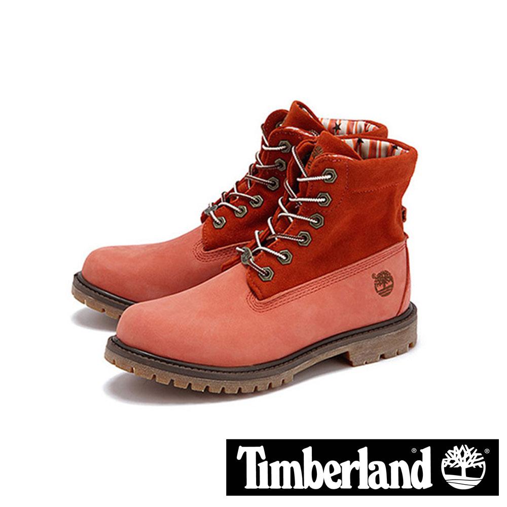 【福利網獨享】 Timberland 印花星星兩穿中筒翻領靴女鞋-粉